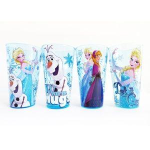 Lot 4pc FROZEN Glitter Glass Tumbler Pint Cups Set